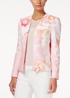 Tahari Asl Floral-Print Open-Front Jacket