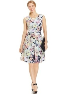 Tahari Asl Floral-Print Pleated Scuba Dress
