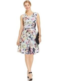 Tahari ASL Floral-Print Pleated Scuba Dress