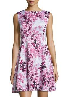 Tahari ASL Floral Sleeveless Fit-&-Flare Scuba Dress