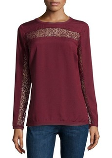 Tahari Franklin Lace-Trim Chiffon Blouse