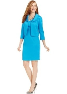 Tahari ASL Hopsack-Textured Dress Suit