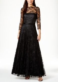 Tahari Asl Illusion Lace Beaded Gown