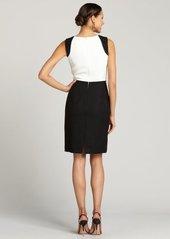 Tahari ASL ivory and black sleeveless colorblock dress