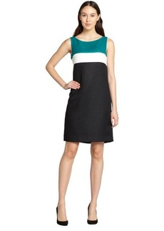 Tahari ASL jade and white and black colorblock sleeveless shift dress