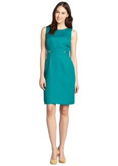 Tahari ASL jade woven metallic bit detail sleeveless sheath dress