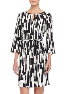 Tahari ASL Jenni Keyhole 3/4-Sleeve Printed Dress