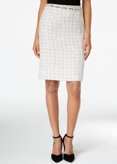Tahari Asl Jeweled-Belt Metallic Boucle Skirt
