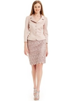 Tahari Asl Lace Buttoned-Front Skirt Suit