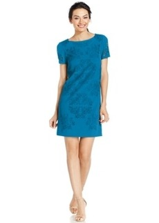 Tahari Asl Laser-Cut Shift Dress