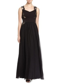 Tahari ASL Leandra Chiffon Gown with Lace Insets