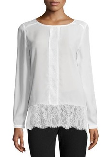 Tahari Leighanne Long-Sleeve Blouse w/Lace Detail