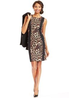 Tahari ASL Leopard-Print Sheath Dress