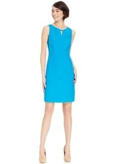Tahari Asl Linen-Blend Keyhole Sheath Dress