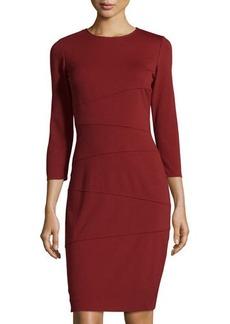 Tahari Lulu Asymmetric-Seamed Ponte Sheath Dress