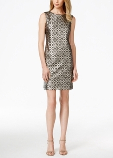 Tahari Asl Metallic Laser-Cutout Sheath Dress