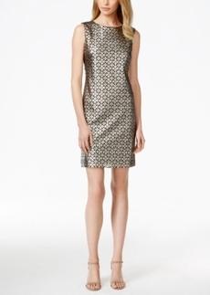 Tahari Asl Metallic Laser-Cut Sheath Dress