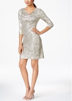Tahari Asl Metallic-Print Ruched Sheath Dress