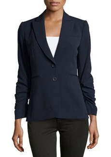 Tahari Netty Ruched-Sleeve Two-Button Jacket