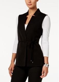 Tahari Asl Notched Collar Tie-Waist Vest