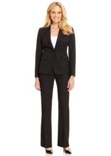 Tahari Asl Petite One-Button Pinstriped Pantsuit