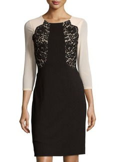 Tahari Peggy Lace-Trim Ponte Dress