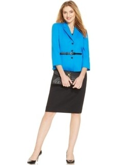 Tahari ASL Belted Three-Button Skirt Suit