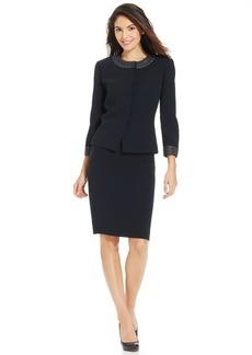 Tahari ASL Petite Collarless Beaded-Trim Skirt Suit