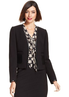 Tahari ASL Petite Collarless Faux-Leather-Trim Jacket