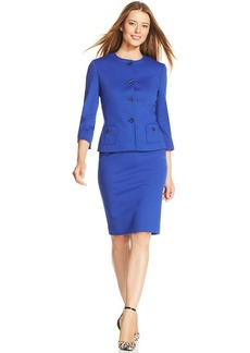 Tahari ASL Petite Collarless Ponte-Knit Skirt Suit