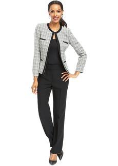 Tahari ASL Petite Collarless Tweed Jacket Pantsuit