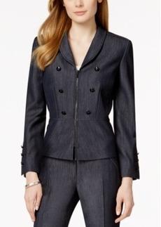 Tahari Asl Denim Zip-Front Peplum Jacket