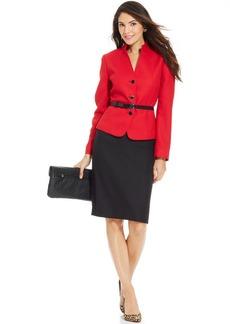 Tahari ASL Petite Herringbone Belted Skirt Suit