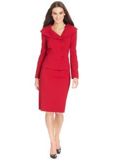 Tahari ASL Petite Shawl-Collar Asymmetrical-Front Skirt Suit