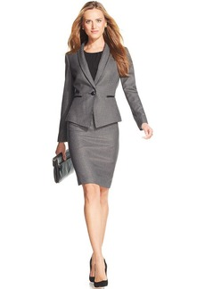 Tahari ASL Petite Single-Button Patterned Skirt Suit