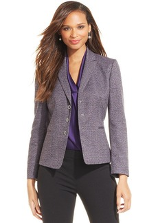 Tahari ASL Petite Three-Button Checkered Blazer