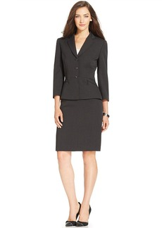 Tahari ASL Petite Three-Button Pinstriped Skirt Suit