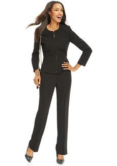 Tahari ASL Petite Zip-Front Jacket Crepe Pantsuit