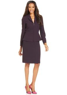 Tahari ASL Petite Zip-Front Peplum Skirt Suit