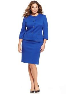 Tahari ASL Plus Size Collarless Ponte-Knit Skirt Suit