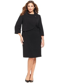 Tahari ASL Plus Size Cropped Jacket Dress Suit