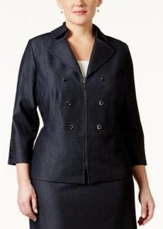 Tahari Asl Plus Size Denim Peplum Jacket