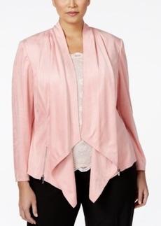Tahari Asl Plus Size Draped Faux-Suede Jacket