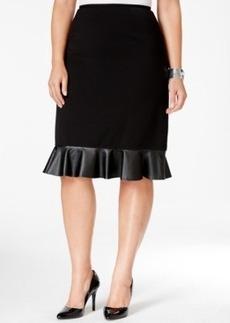 Tahari Asl Plus Size Faux-Leather Hem Pencil Skirt