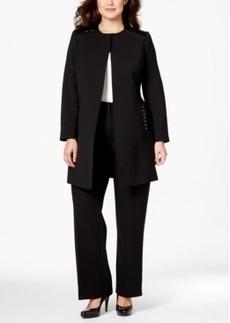 Tahari Asl Plus Size Faux-Leather-Trim Studded Ponte Jacket
