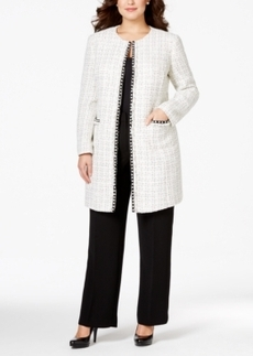 Tahari Asl Plus Size Faux-Pearl Boucle Tweed Jacket