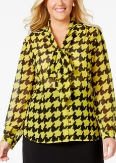 Tahari Asl Plus Size Houndstooth-Print Tie-Front Blouse