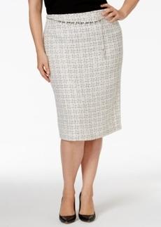 Tahari Asl Plus Size Jeweled-Belt Metallic Boucle Skirt