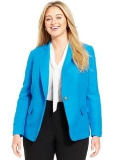Tahari Asl Plus Size One-Button Linen-Blend Jacket