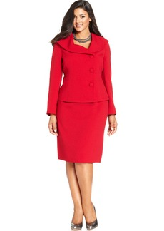 Tahari ASL Plus Size Shawl-Collar Asymmetrical-Front Skirt Suit